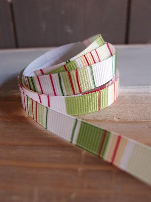Burgundy-Green-Lime-White Vertical Stripes Grosgrain Ribbon
