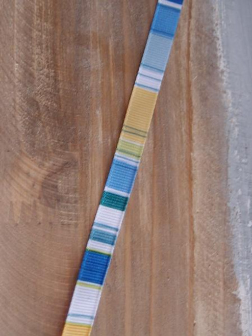 Green-Blue-White-Yellow Vertical Stripes Grosgrain Ribbon