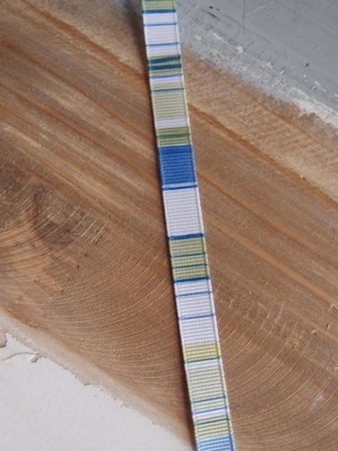 Blue-Moss-White Vertical Stripes Grosgrain Ribbon