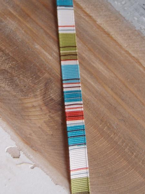 Peach-Ivory-Brown-Blue-Moss Vertical Stripes Grosgrain Ribbon