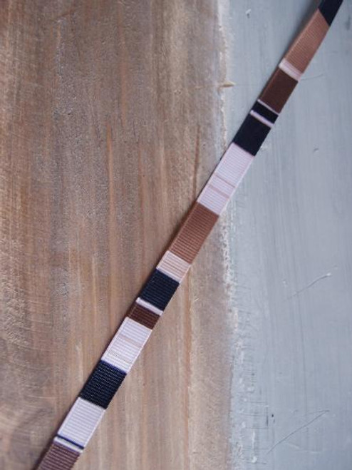 Brown-Black-Pink-Tan Vertical Stripes Grosgrain Ribbon