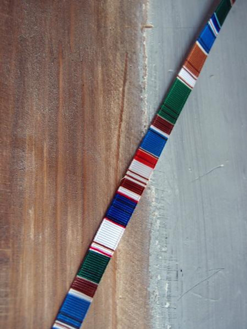 Green-Brown-Red-Blue-White Vertical Stripes Grosgrain Ribbon