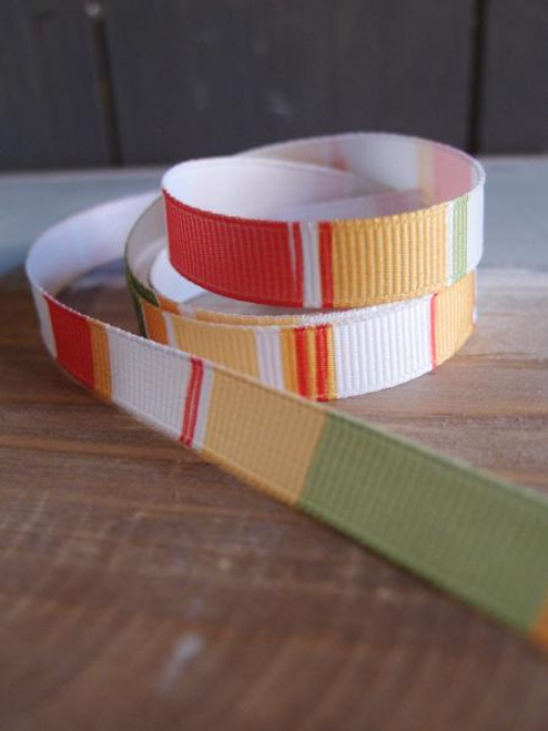Orange-White-Yellow-Moss Vertical Stripes Grosgrain Ribbon