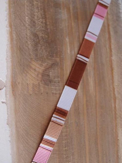 Brown-Pink-White Vertical Stripes Grosgrain Ribbon