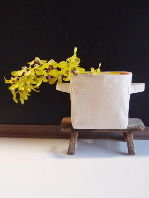 Natural Canvas Storage Basket w/ Laminated Lining