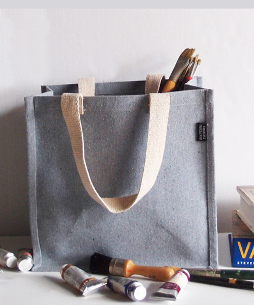 "Gray Recycled Canvas Tote with Laminated Lining 12"" W x 12"" H x 7 3/4"" Gusset"
