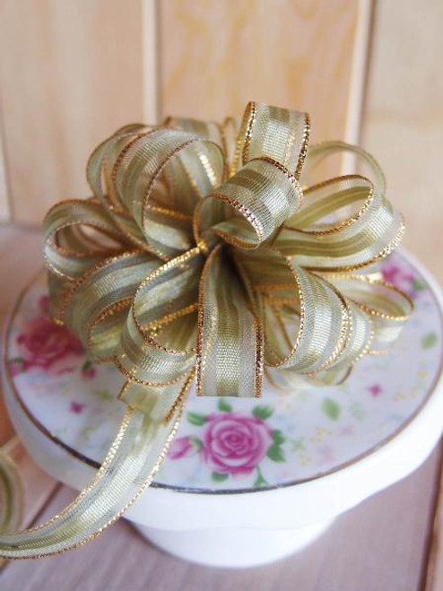 Moss with Gold Edge Pull Bow Ribbon