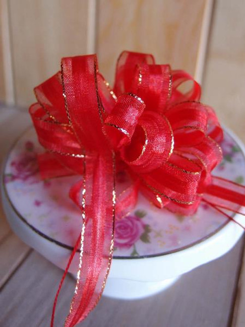 Red with Gold Edge Pull Bow Ribbon