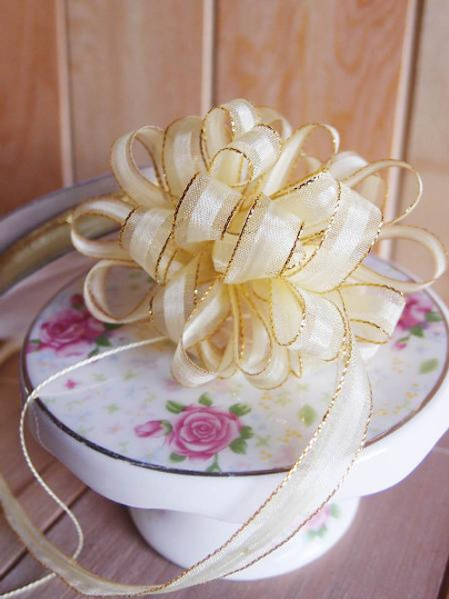 Yellow with Gold Edge Pull Bow Ribbon