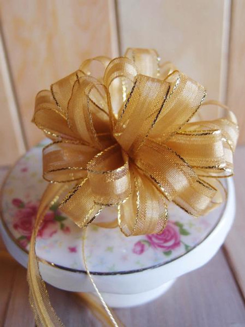 Gold with Gold Edge Pull Bow Ribbon