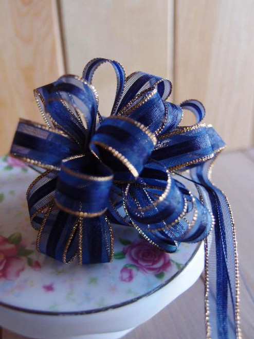 Navy Blue with Gold Edge Pull Bow Ribbon