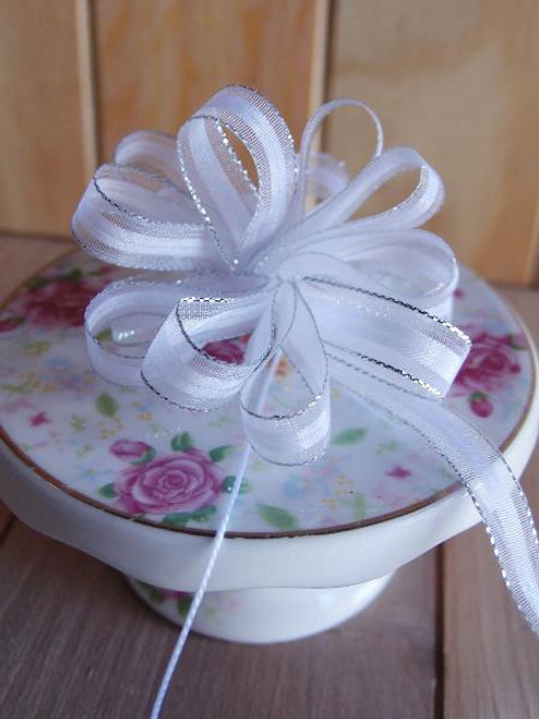 White with Silver Edge Pull Bow Ribbon