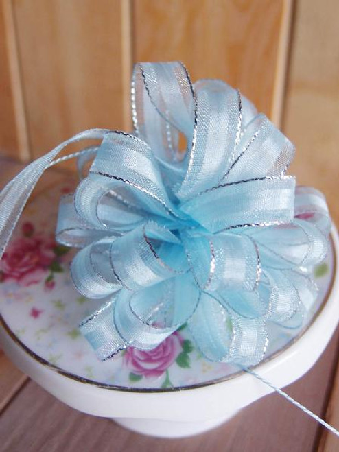 Light Blue with Silver Edge Pull Bow Ribbon
