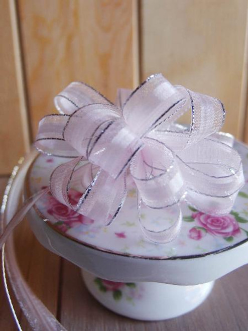 Pink with Silver Edge Pull Bow Ribbon