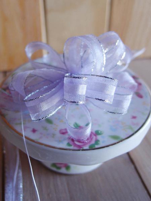 Lavender with Silver Edge Pull Bow Ribbon