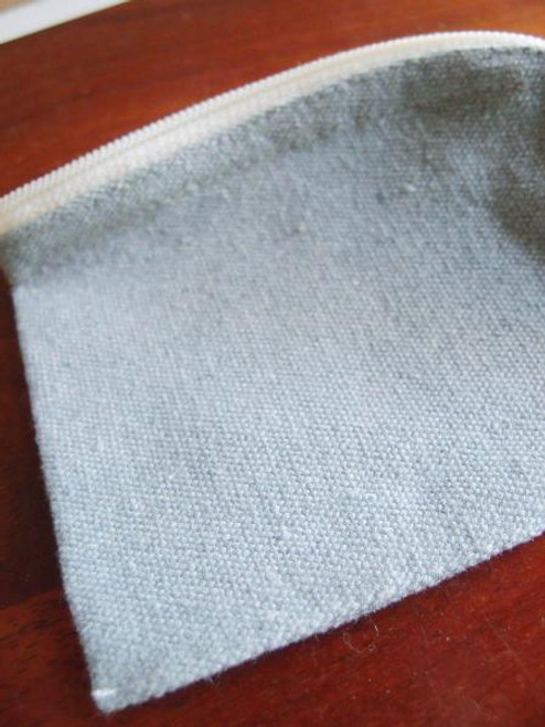 Grey Recycled Canvas Curved Zippered Pouch