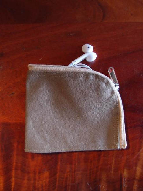 Cotton Brown Washed  Canvas Curved Zippered Pouch