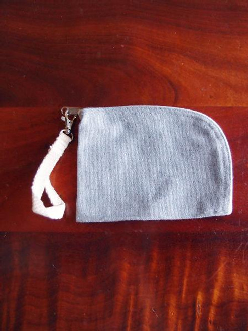 Wholesale Zipper Pouches, Recycled Canvas Curved Zippered Pouch with Wristlet B689-70 | Packaging Decor