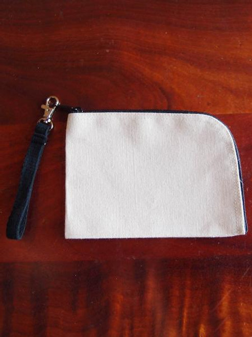 Cotton Canvas Curved Black Zipper Pouch with Black Wristlet