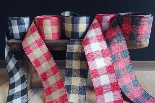 Red & Natural Check Faux Linen Ribbon