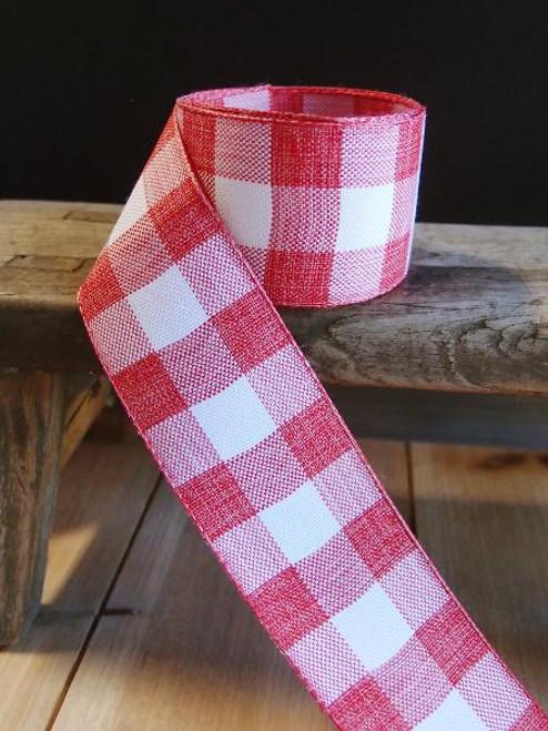 Red & White Check Buffalo Plaid Ribbon