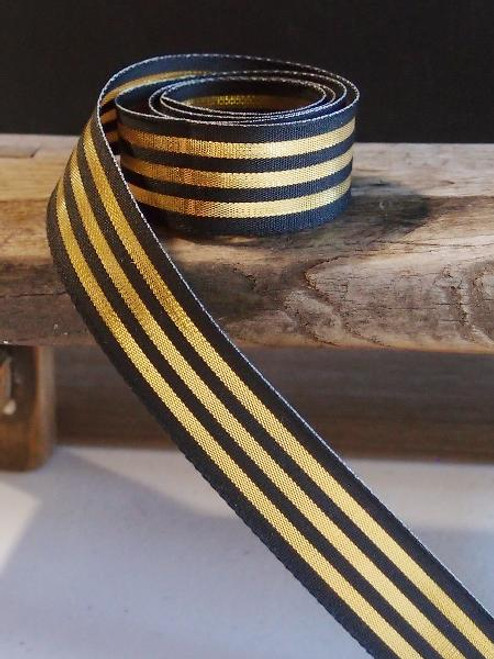 Black & Gold Metallic Striped Ribbon (3 sizes)