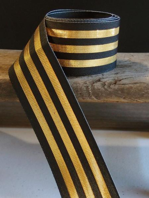Black & Gold Metallic Striped Ribbon (3 sizes)
