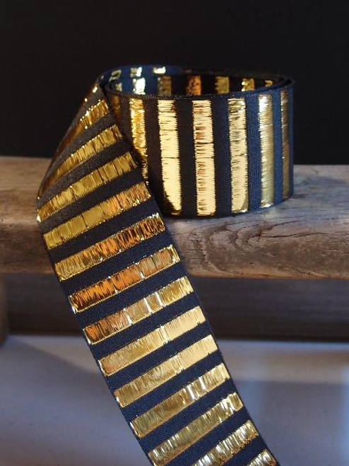 Black & Gold Metallic Horizontal Striped Ribbon (2 sizes)