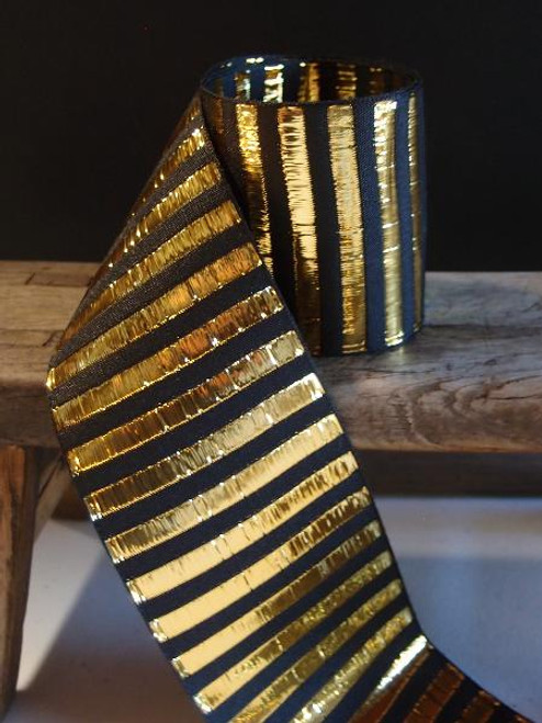 Black & Gold Metallic Horizontal Striped Ribbon (2 sizes)
