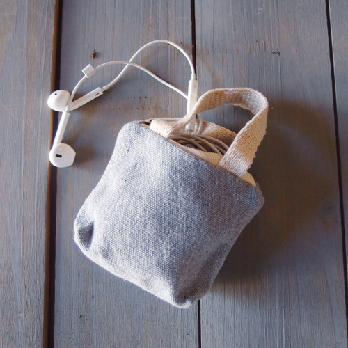 Gray Tiny Tote Zippered with Natural Handles B690-70, Wholesale Mini Tote Bags   Packaging Decor