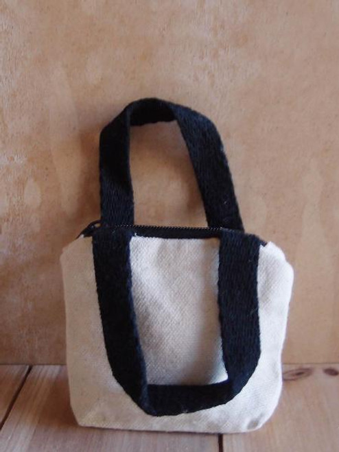 Natural Tiny Tote Bags Zippered with Black Handles B690-79, Wholesale Mini Tote Bags | Packaging Decor