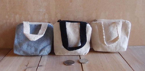 Natural Tiny Tote Zippered with Black Handles