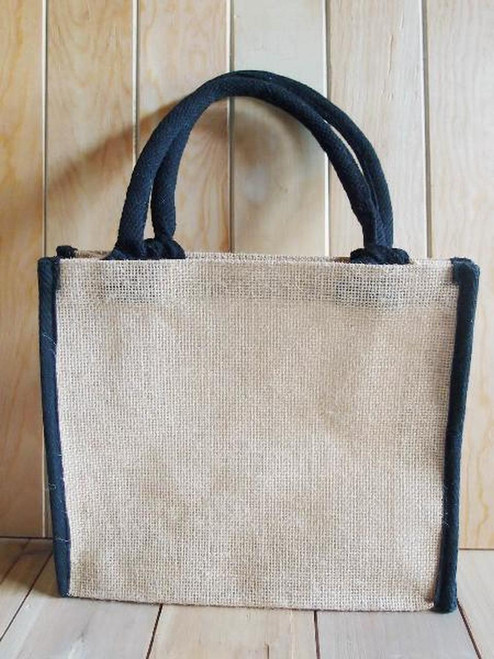 Jute Tote with Black Cotton Trim 10.25 x 9 x 3 inches  (B874-79), Wholesale Jute Tote Bags | Packaging Decor