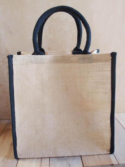 Jute Tote Bag with Black Cotton Trim 12 x 12 x 7 3/4 inches B875-79, Wholesale Tote Bags | Packaging Decor