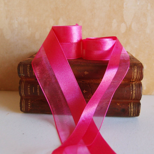 Hot Pink Half Sheer Half Satin Ribbon (2 sizes)