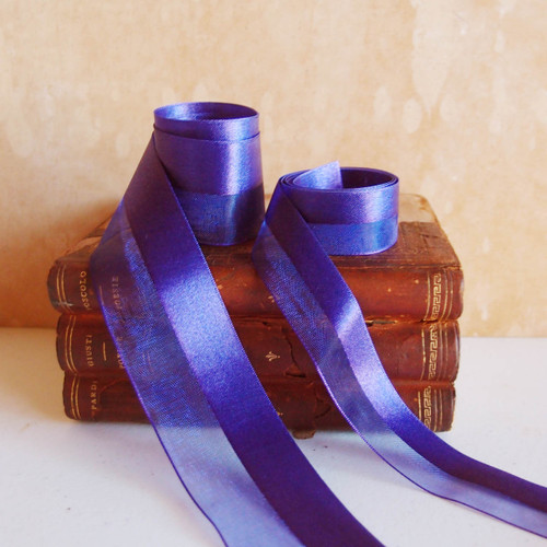 Violet Half Sheer Half Satin Ribbon (2 sizes)