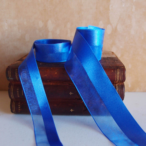 Royal Blue Half Sheer Half Satin Ribbon (2 sizes)