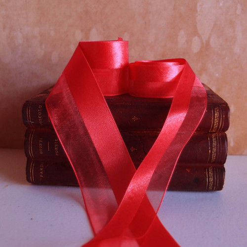 Red Half Sheer Half Satin Ribbon (2 sizes)