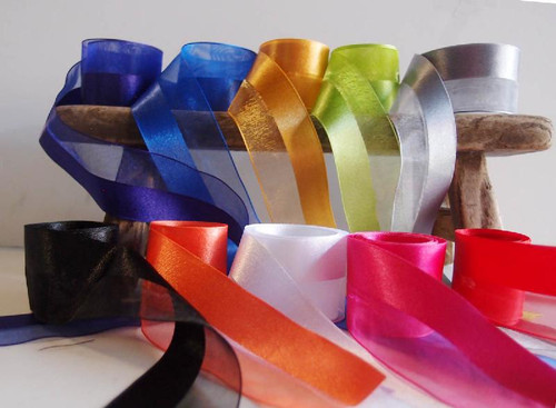 White Half Sheer Half Satin Ribbon (2 sizes)