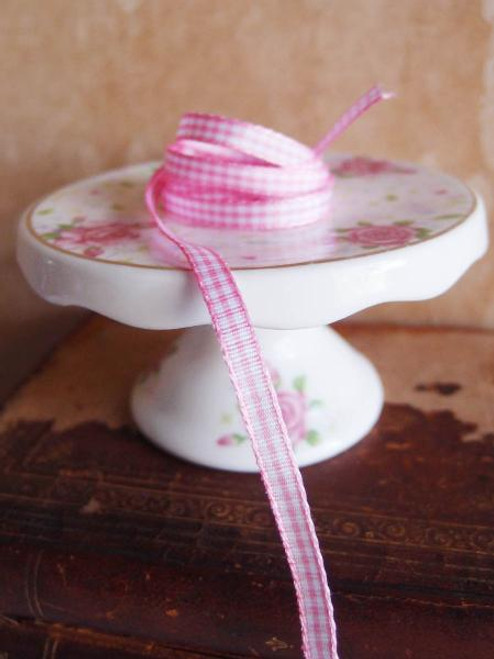 Light Pink & White Gingham Checkered Ribbon (2 sizes)