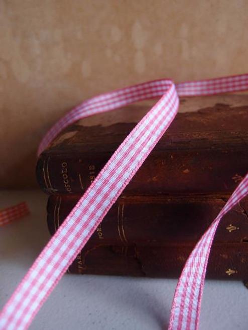 Pink & White Gingham Checkered Ribbon (2 sizes)