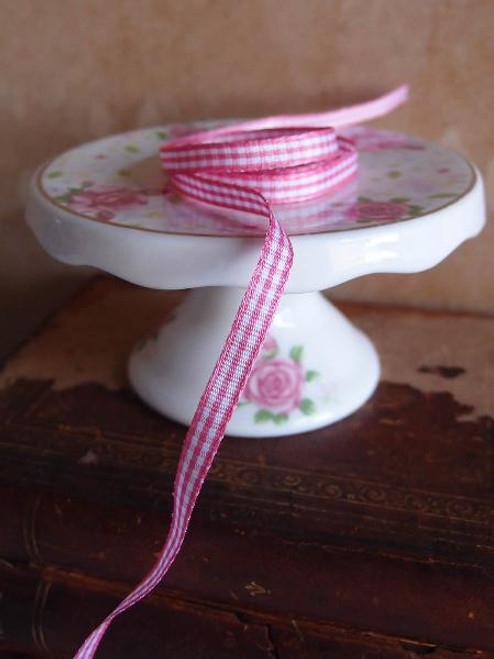 Pink & White Gingham Checkered Ribbon (2 sizes)