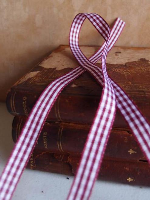 Burgundy & White Gingham Checkered Ribbon (2 sizes)