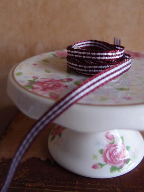 Burgundy & White Gingham Checkered Ribbon (2 sizes)