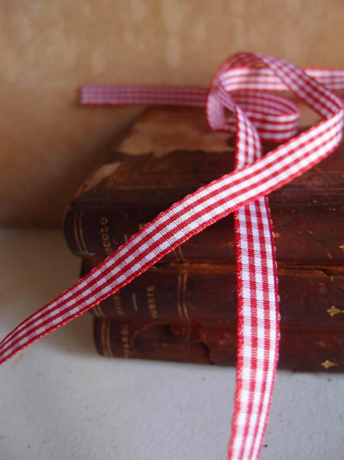 Red & White Gingham Checkered Ribbon (2 sizes)