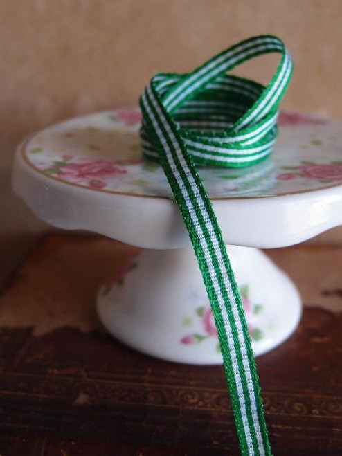 Emerald Green & White Gingham Checkered Ribbon (2 sizes)
