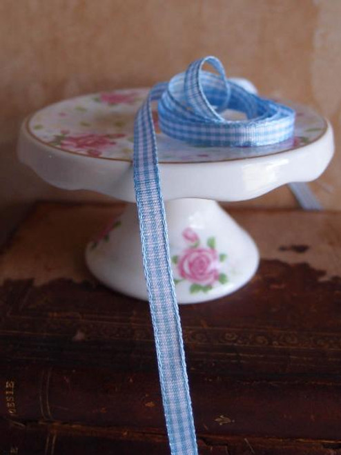Light Blue  & White Gingham Checkered Ribbon (2 sizes)