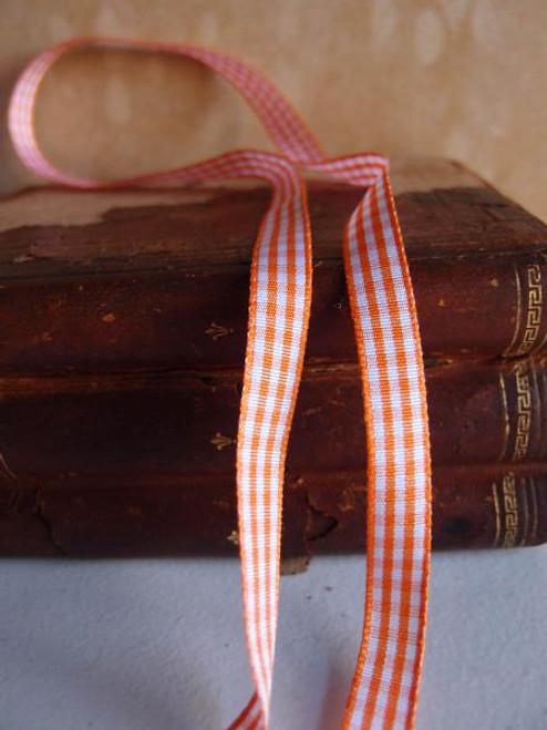 Orange & White Gingham Checkered Ribbon (2 sizes)