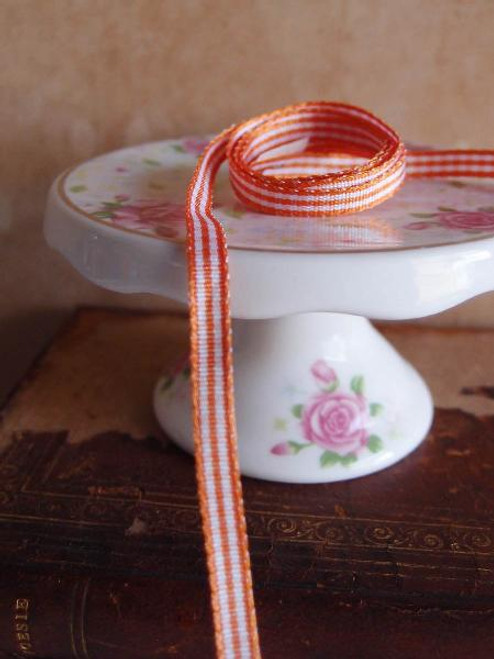 Orange & White Gingham Checkered Ribbon (2 sizes)