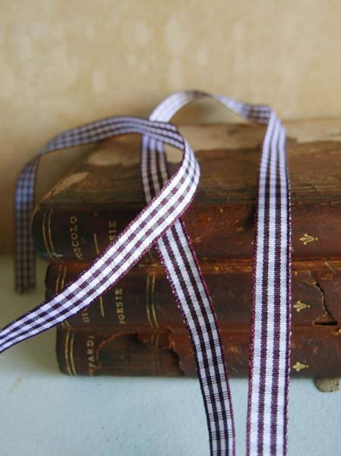 Brown & White Gingham Checkered Ribbon (2 sizes)